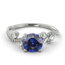 "Load image into Gallery viewer, 2 Carat 14K White Gold Blue Sapphire ""Lucia"" Engagement Ring - Diamonds Mine"