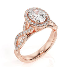 "Load image into Gallery viewer, 1.5 Carat 14K Rose Gold Diamond ""Anya"" Engagement Ring"