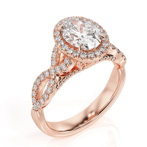 "2 Carat 14K Rose Gold Moissanite & Diamonds ""Anya"" Engagement Ring"