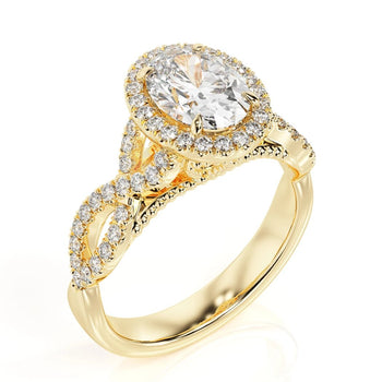2.6 Carat 14K Yellow Gold Moissanite & Diamonds