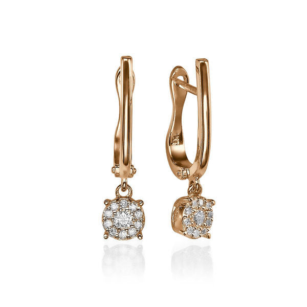 Diamond Dangle Earrings 14K - Diamonds Mine