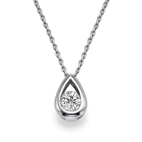 Round Cut Diamond Pendants 14K - Diamonds Mine
