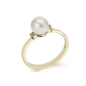"6MM 14K Yellow Gold Pearl ""Yvonne"" Ring - Diamonds Mine"