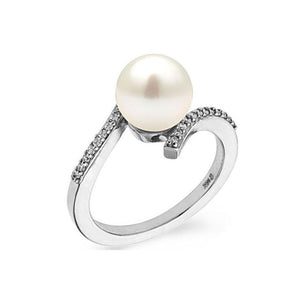 "8MM 14K White Gold Freshwater Pearl ""Tara"" Ring - Diamonds Mine"