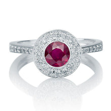 Load image into Gallery viewer, Art Deco Ruby and Diamond Engagement Ring - Diamonds Mine