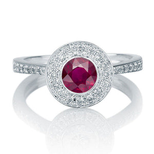Art Deco Ruby and Diamond Engagement Ring - Diamonds Mine