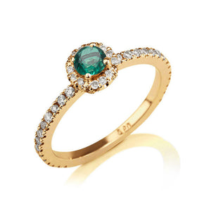 "0.25 Carat 14K Yellow Gold Emerald and Diamonds Halo ""Ellen"" Engagement Ring - Diamonds Mine"