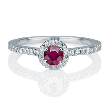 Vintage Ruby Diamond Engagement Ring - Diamonds Mine