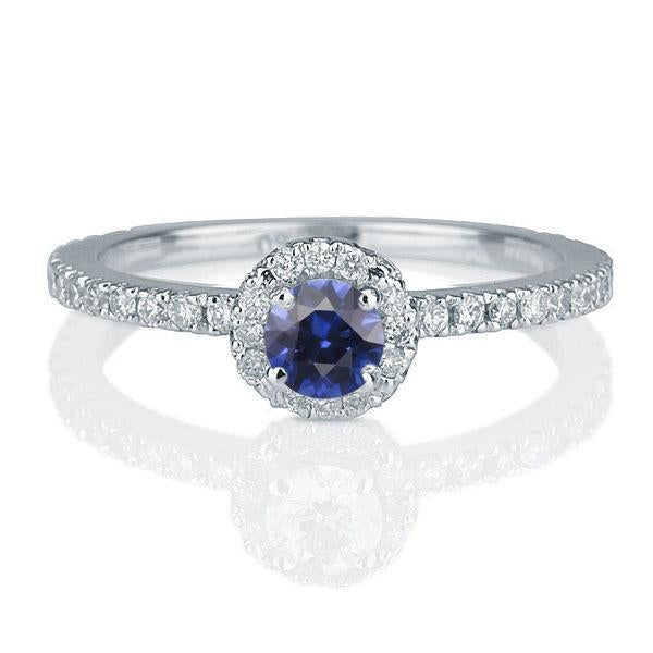 0.5 Carat 14K Yellow Gold Blue Sapphire & Diamonds