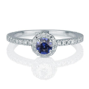 0.5 Carat 14K White Gold Blue Sapphire & Diamonds