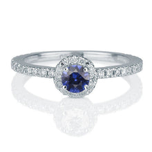 Load image into Gallery viewer, Blue Sapphire and Diamond Engagement Ring - Diamonds Mine