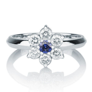 Blue Sapphire Engagement Ring Accented by Diamonds - Diamonds Mine