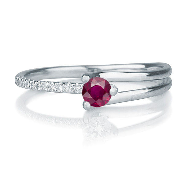 "0.36TCW 14K Whte Gold Ruby ""Amanda"" Engagement Ring - Diamonds Mine"