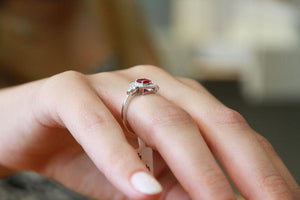 "0.84 TCW 14K Rose Gold Ruby ""Danna"" Engagement Ring - Diamonds Mine"