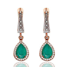 Load image into Gallery viewer, Emerald Dangle Earrings with 45 diamonds 14K - Diamonds Mine