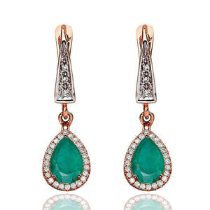 Emerald Dangle Earrings with 45 diamonds 14K - Diamonds Mine
