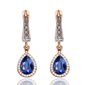 Sapphire Dangle Earrings with 45 diamonds 14K - Diamonds Mine