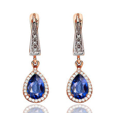 Load image into Gallery viewer, Sapphire Dangle Earrings with 45 diamonds 14K - Diamonds Mine