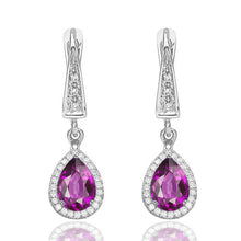 Load image into Gallery viewer, Amethyst Dangle Earrings with 45 diamonds 14K - Diamonds Mine
