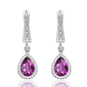 Amethyst Dangle Earrings with 45 diamonds 14K - Diamonds Mine