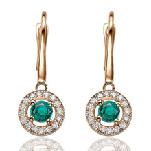 Load image into Gallery viewer, Emerald Dangle Earrings with 32 diamonds 14K - Diamonds Mine