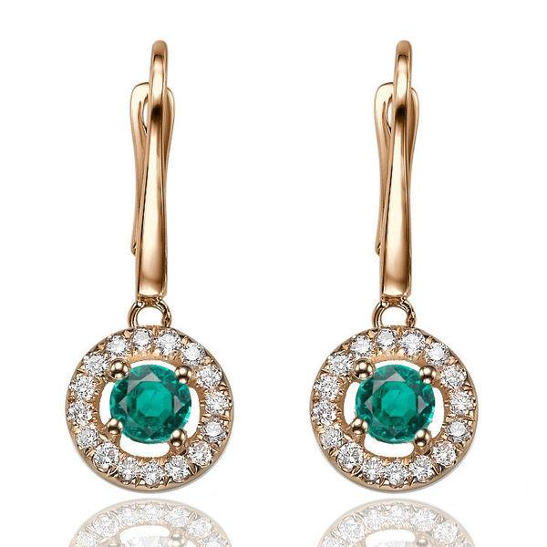 Emerald Dangle Earrings with 32 diamonds 14K - Diamonds Mine