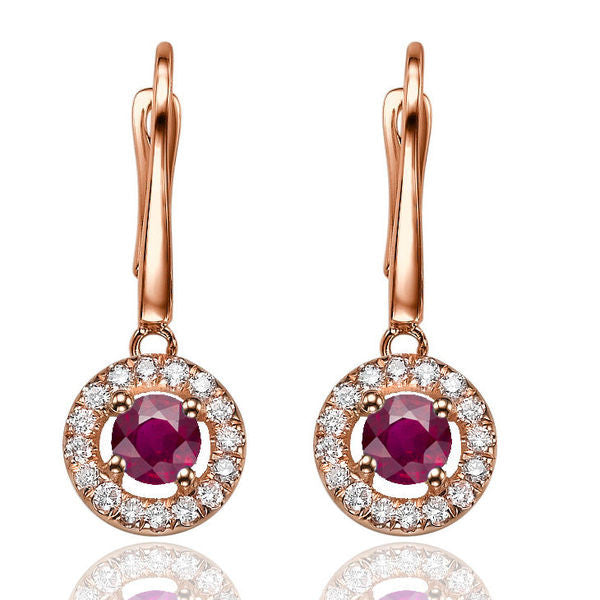 Ruby Dangle Earrings with 32 diamonds 14K - Diamonds Mine