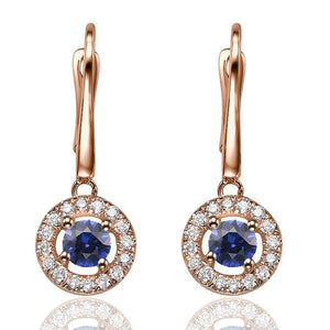 Sapphire Dangle Earrings with 32 diamonds 14K - Diamonds Mine