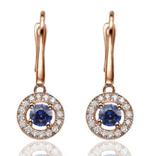 Load image into Gallery viewer, Sapphire Dangle Earrings with 32 diamonds 14K - Diamonds Mine