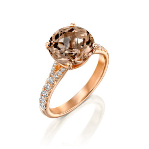 2.5 Carat 14K Rose Gold Morganite & Diamonds