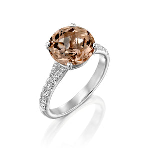 "2.5 Carat 14K Rose Gold Morganite & Diamonds ""Isabella"" Engagement Ring"