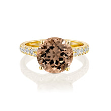 "Load image into Gallery viewer, 3 Carat 14K Yellow Gold Morganite & Diamonds ""Isabella"" Engagement Ring"