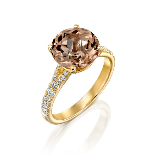 3 Carat 14K Yellow Gold Morganite & Diamonds