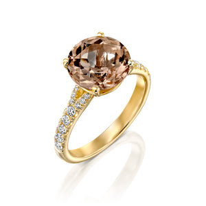 "3 Carat 14K Yellow Gold Morganite & Diamonds ""Isabella"" Engagement Ring"