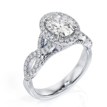 "Load image into Gallery viewer, 3.5 Carat 14K White Gold Moissanite & Diamonds ""Anya"" Engagement Ring"