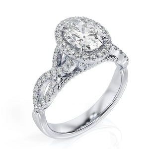 "3.5 Carat 14K White Gold Moissanite & Diamonds ""Anya"" Engagement Ring"
