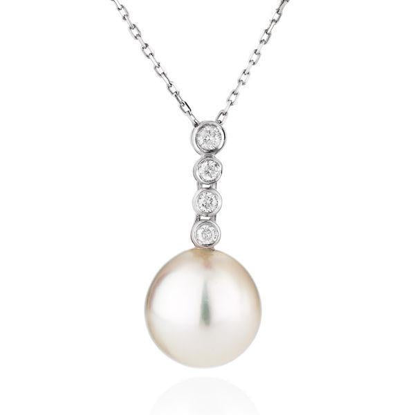 Freshwater Pearl Pearl Pendants 14K with diamonds pearl pedant - Diamonds Mine