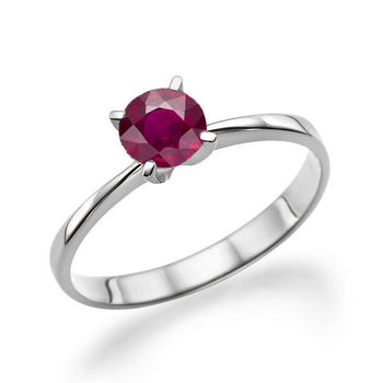 "0.2 Carat 14K White Gold Ruby ""Vivian"" Engagement Ring - Diamonds Mine"