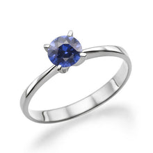 "Load image into Gallery viewer, 0.2 Carat 14K White Gold Blue Sapphire ""Vivian"" Engagement Ring - Diamonds Mine"