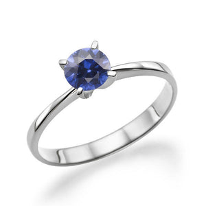 "0.2 Carat 14K White Gold Blue Sapphire ""Vivian"" Engagement Ring - Diamonds Mine"