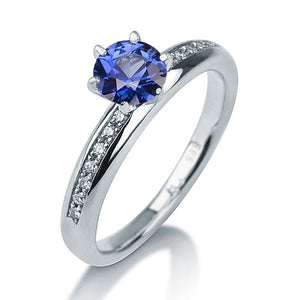 "0.7 Carat 14K White Gold Solitaire with Accents Blue Sapphire ""Hannah"" Engagement Ring - Diamonds Mine"