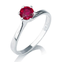 "Load image into Gallery viewer, 0.3 Carat 14K White Gold Ruby ""Chelsea"" Engagement Ring - Diamonds Mine"