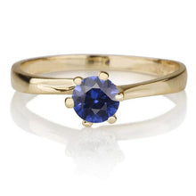 "Load image into Gallery viewer, 0.3 Carat 14K Yellow Gold Blue Sapphire ""Chelsea"" Engagement Ring - Diamonds Mine"