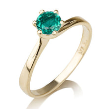 "Load image into Gallery viewer, 0.30 Carat 14K Yellow Gold Emerald ""Cheryl"" Engagement Ring - Diamonds Mine"