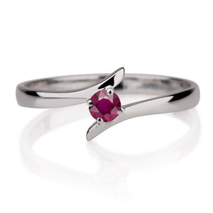 "0.2 Carat 14K White Gold Ruby ""Isabel"" Engagement Ring - Diamonds Mine"
