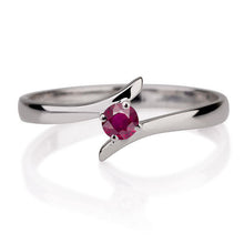 "Load image into Gallery viewer, 0.2 Carat 14K White Gold Ruby ""Isabel"" Engagement Ring - Diamonds Mine"