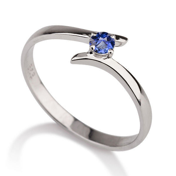 "0.2 Carat 14K White Gold Blue Sapphire ""Isabel"" Engagement Ring - Diamonds Mine"