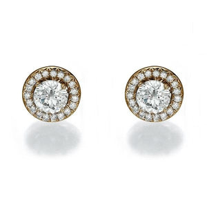 Diamond Stud Earrings with 40 diamonds 14K - Diamonds Mine