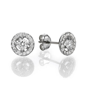 Diamond Stud Earrings with 32 diamonds 14K Solid Gold - Diamonds Mine