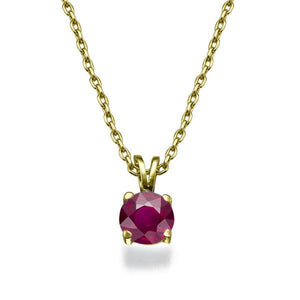 "0.3 Carat 14K Yellow Gold Ruby ""Una"" Pendant - Diamonds Mine"